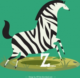 zebra icon colored classical flat design