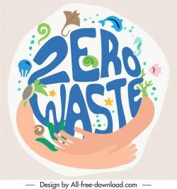 zero waste background marine species sketch flat handdrawn