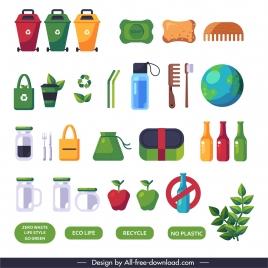 zero waste elements colored flat symbols sketch
