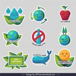 zero waste elements colorful flat symbols sketch