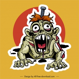 zombie icon deadly frightening man sketch
