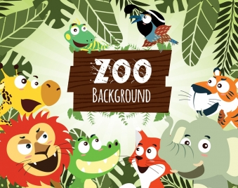 zoo advertising cute animals icons cartoon design