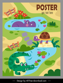 zoo poster template cute hippo turtle alligator sketch