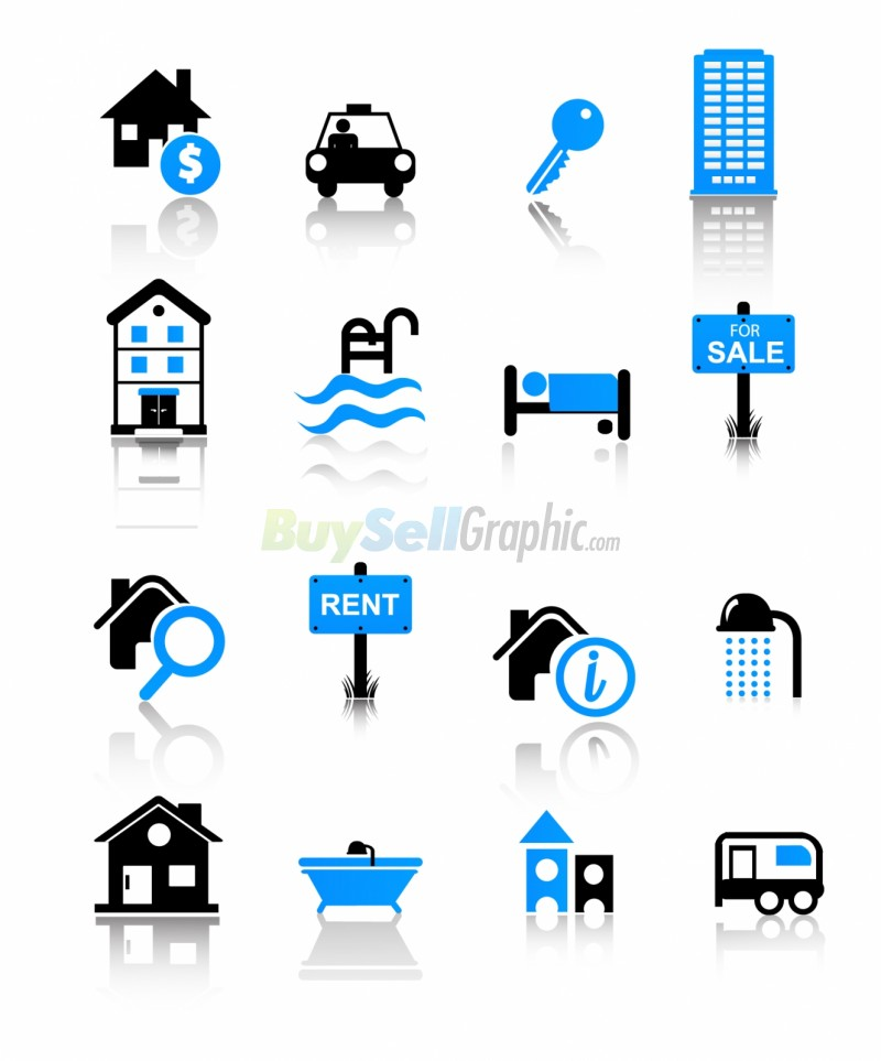 Real Estate Icons Vector Graphic Royalty Free Download