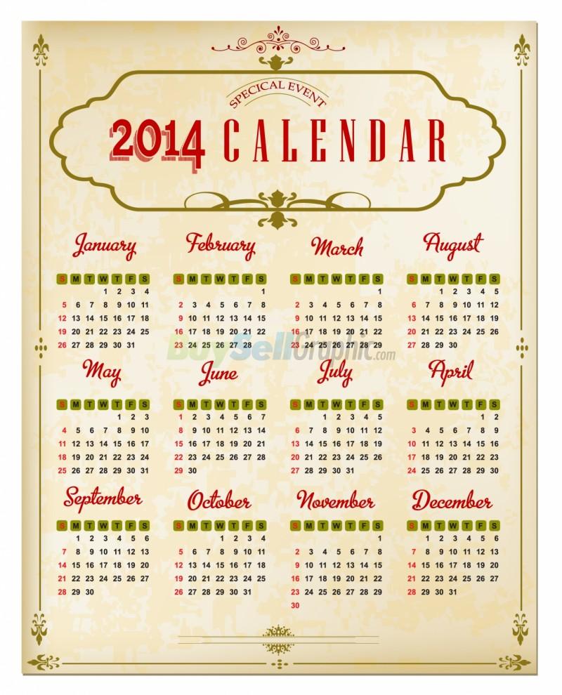 Calendar Vintage : Vintage calendar vector graphic royalty free