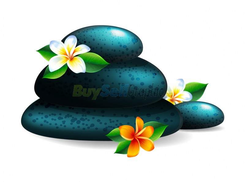 Spa stone and flower vector graphic royalty free download ...