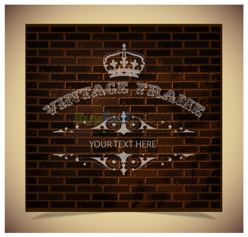 Old Brick Wall Decor : Vintage decor on old brick wall vector graphic royalty